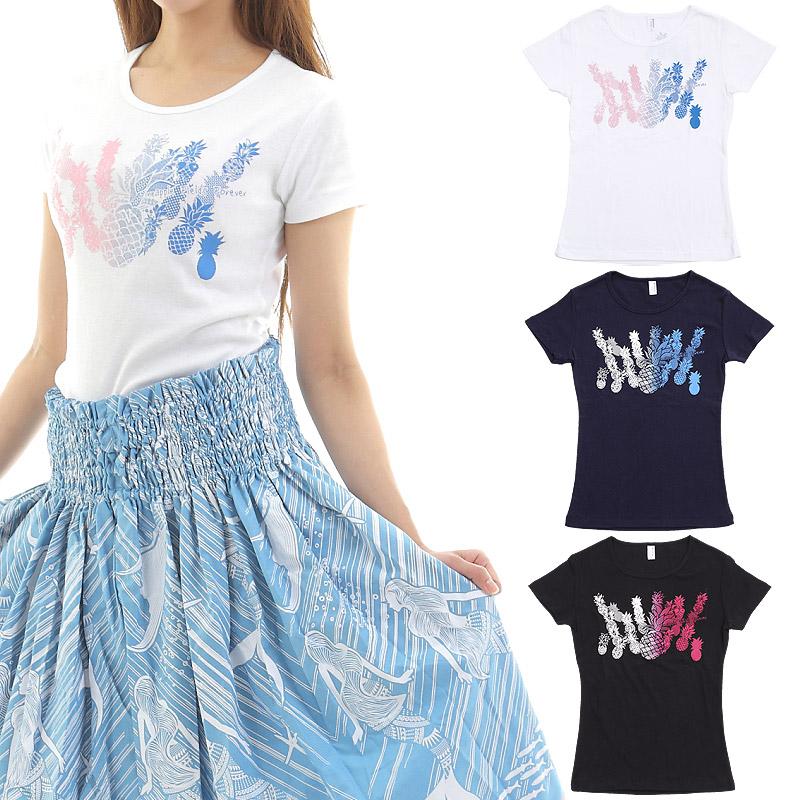 画像1: フラダンス Tシャツ 速乾加工 半袖 パイナップルフィールズ柄 ネコポス対応可 (1)