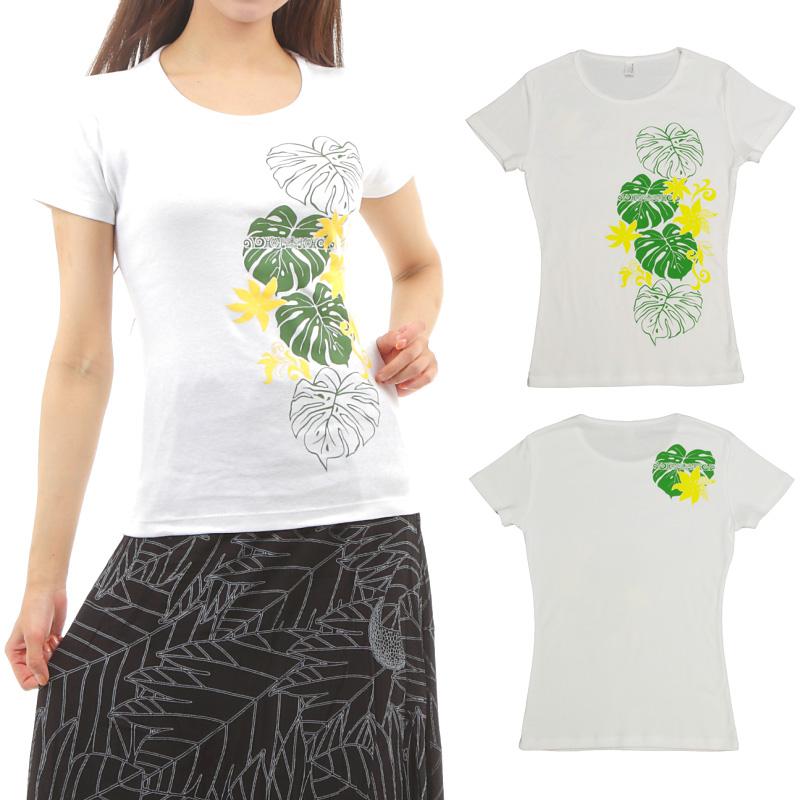 画像1: フラTシャツ 速乾 半袖 フライスTシャツ タヒチアンモンステラ柄 白地 緑&黄色プリント ネコポス配送可 (1)