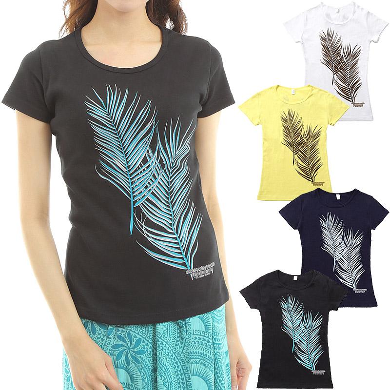 画像1: フラダンス Tシャツ 速乾加工 半袖 ココパームス柄 ネコポス対応可 (1)