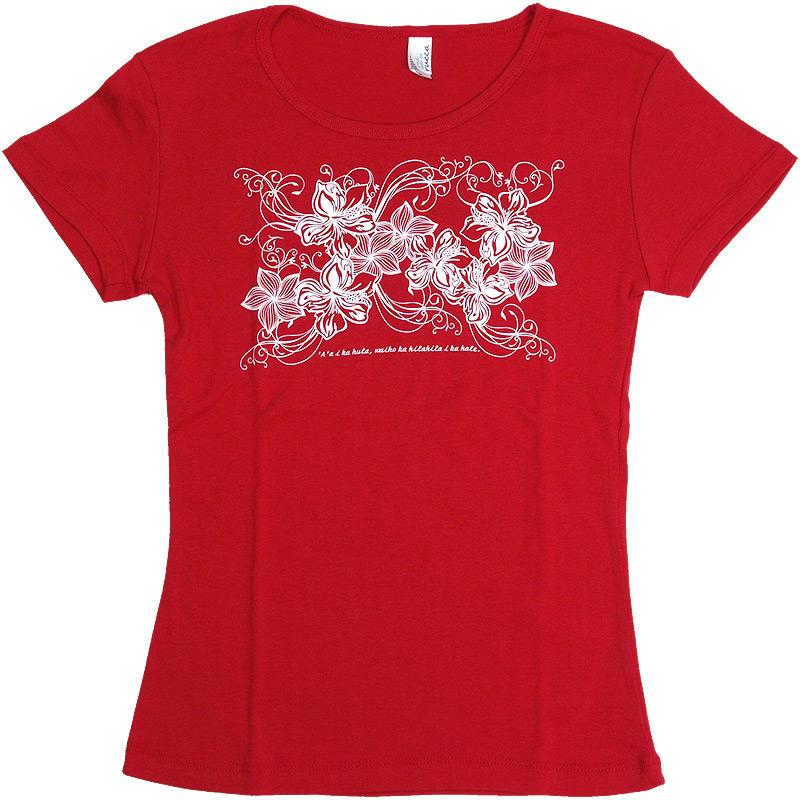 画像1: 6.2oz速乾フライスTシャツ【ハイビスカス&プルメリア/赤×白】≪ネコポス対応可≫ (1)