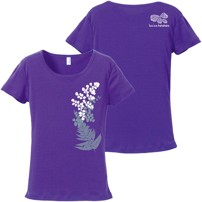 画像1: 数量限定 再入荷予定なし フライス 半袖 Tシャツ イヴァイヴァ柄 紫 限定カラー (1)